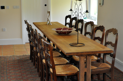 The formal dining room at Honeymead Farmhouse large country house available to hire on Exmoor
