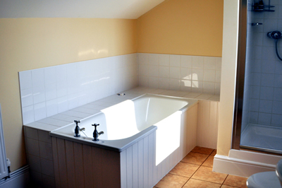 One of the bathrooms at Honeymead Farmhouse large country house available to hire on Exmoor